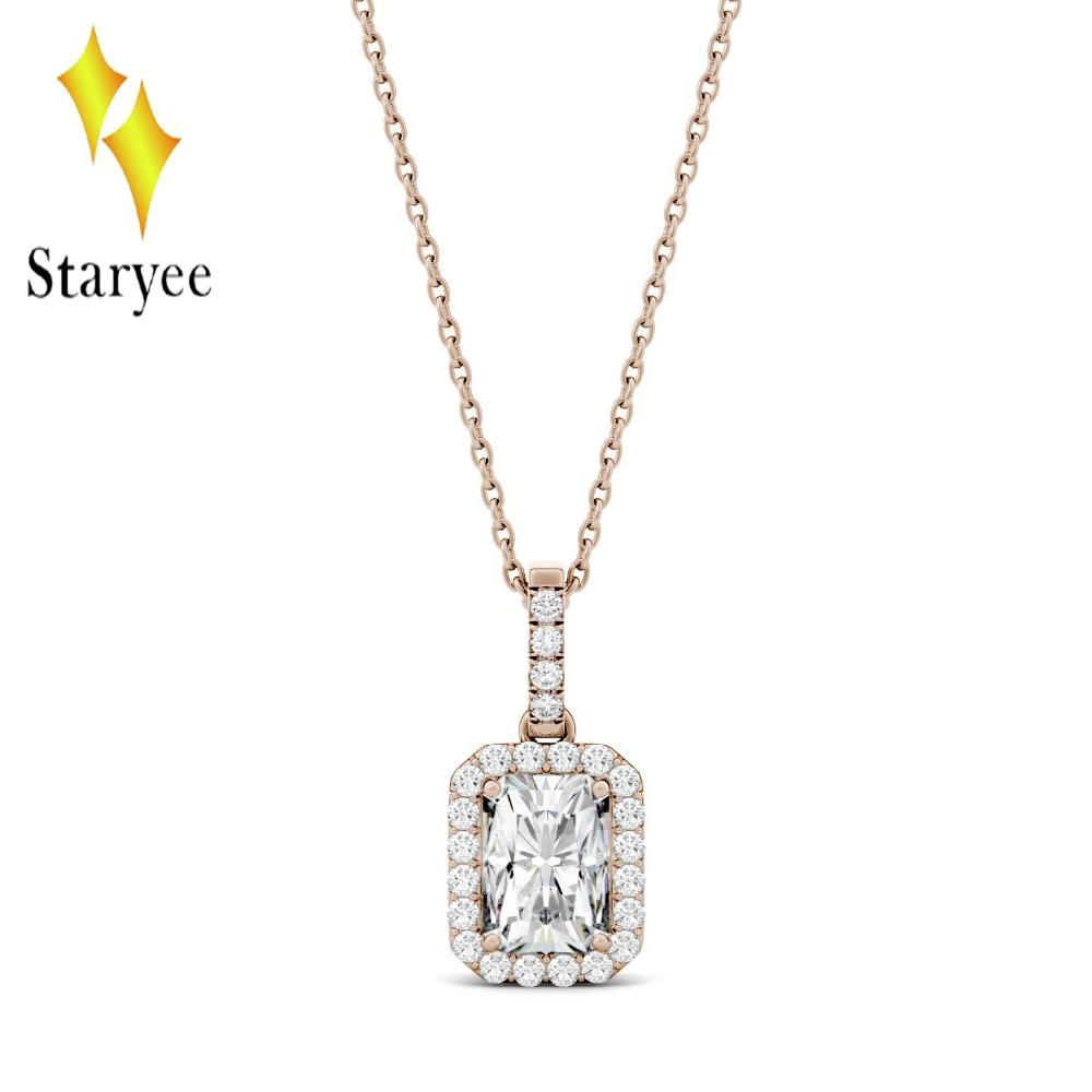 Real 18K Rose Gold 1.2 Carat ct DEF Color Lab Grown Moissanite Diamond Pendant Necklace Chain For Women Charm Jewelry transgems 18k rose gold 1 carat lab grown moissanite diamond solitaire pendant necklace solid necklace for women