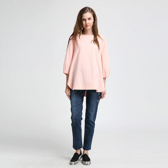 Ropa de maternidad Del Otoño Del Resorte de Moda Bordado Flojo Pregnantcy Oficina Blusas camisetas para Las Mujeres Embarazadas de Algodón Camisetas
