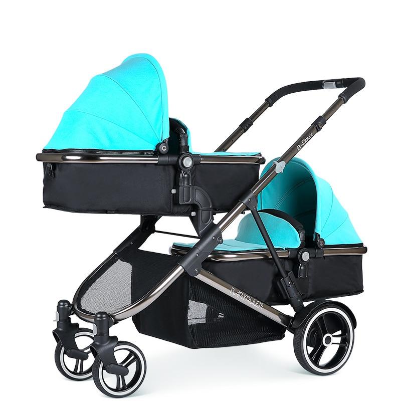 Babyruler Twin Baby Stroller Can Sit, Lie, Split, Fold, Double Stroller, baibos bai twin landscape baby stroller double front and rear can lie sit