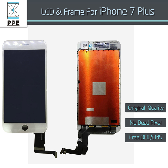 "5pcs/lot OEM Original new LCD for Apple iPhone 7 Plus LCD display touch screen digitizer bezel assembly black white 5.5"" DHL EMS"