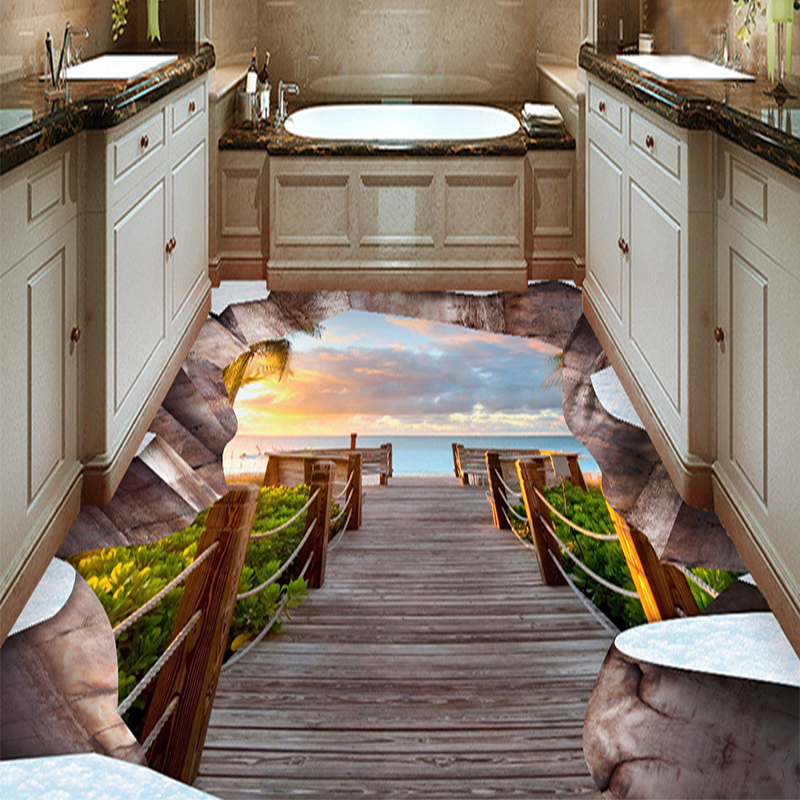 Custom 3d crack channel landscape living room bathroom for Bathroom floor mural sky