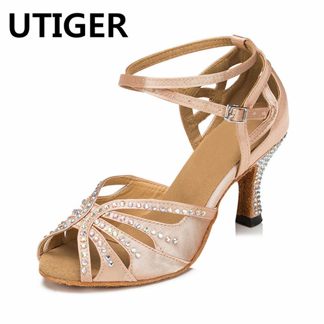 Satin Rhinestone Women Salsa Tango Ballroom Dance Shoes Latin Dancing Shoes  High heel 6CM 7CM 8CM 10CM Lady Girls sandals a475fc7a5b9e