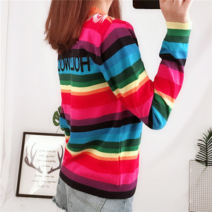Image 3 - Brand Design Tiger Jacquard Rainbow color Striped Jumper Winter Spring Letter Embroidery Women Sweater Pullover Knit Top  C 349