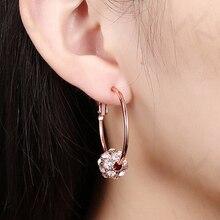 Rhinestone ball hoop earrings for women girls rose gold/silver color zinc alloy female round earring fashion ear jewelry brincos