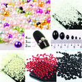 Medio Alrededor de Las Perlas 1000 unids/bolsa Tamaño Mixto 2 3 4 5 6 8 10mm ABS las perlas de Imitación de Flatback Pegamento Suelto En Granos de la Resina DIY Fuentes de La Joyería