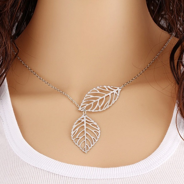 New Fashion Simple 2 Leaf Gold/Silver Clavicle Chain Necklace  For Women Temperament Wild Jewelry Necklace