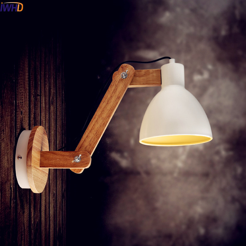 IWHD Nordic Wooden LED Wall Light Fixtures Coffe Beside Creative Modern Wall Lamp Bedroom Sconce Arandela Applique Murale creative wooden led wall light fixtures living room aisle corridor beisde lamp wall sconce arandela aplik wandlamp