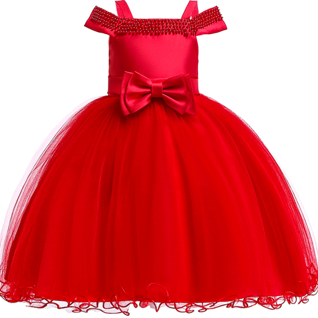 df7634c2cb 2018 Petal Big Bow Satin Girls Princess wedding dress Baby kids princess  dresses for girls clothes Tutu dress Christmas costume