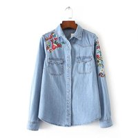 Spring Autumn Women Embroider Denim Casual Vintage Shirts Female Long Sleeve Pockets Lapel Slim Cardigan Blue