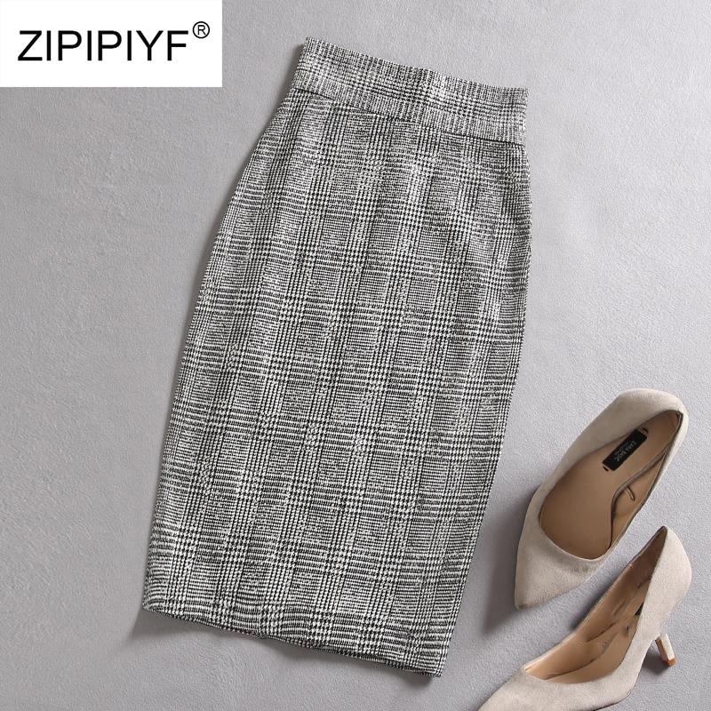 Sexy Black White Plaid Skirts Women Short Pencil Skirt Zipper In Front Female 2018 Spring Summer Bodycon Vintage Casual D1500 women summer spring black pencil mini skirt sexy female elegant short sheath slim office lady skirt casual fashion work skirts