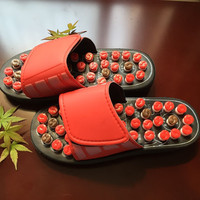 2017 Red Gossip Rotating Shoes Sandal Reflex Massage Slippers Acupuncture Foot Healthy Spring Massager Shoe