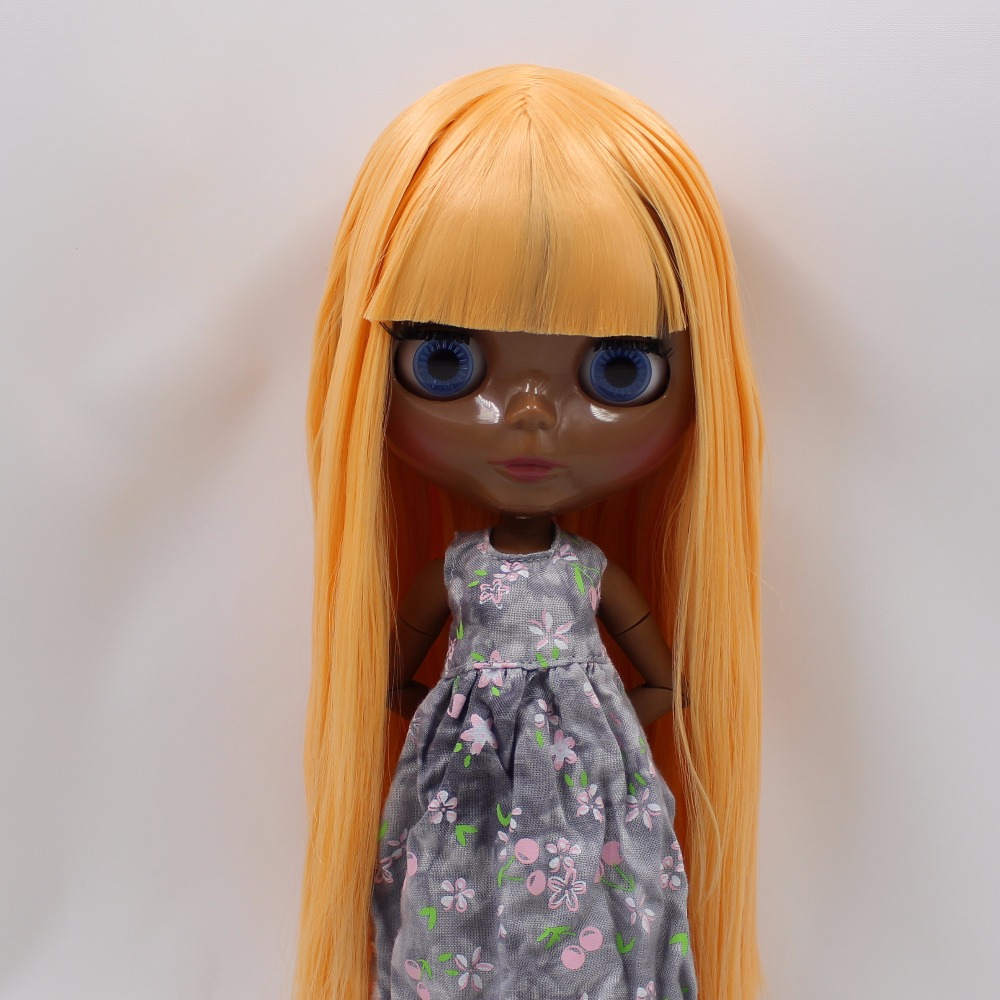 Neo Blythe Doll with Orange Hair, Black skin, Shiny Face & Jointed Body 3