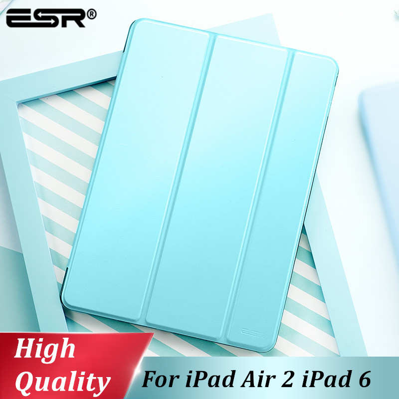 ESR Cover for iPad Air 2 Case Synthetic Leather Translucent Frosted Back Magnetic Smart Cover+Auto Sleep/Wake A1566 A1567 Model protective frosted pc back case for samsung note 3 n7200 n9000 translucent black
