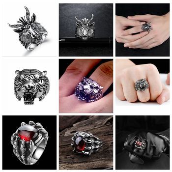 Free Fan Retro Gothic Punk Men Rings Trendy Skull Wolf Dragon Male Rings Jewelry Halloween Accessories Anillo Hombre Bijoux 1