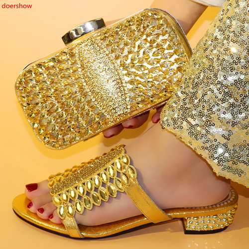doershow African Shoes And Bag Matching Set With gold Hot Selling Women Italian Shoes And Bag Set For Party Wedding! HFF1-7doershow African Shoes And Bag Matching Set With gold Hot Selling Women Italian Shoes And Bag Set For Party Wedding! HFF1-7