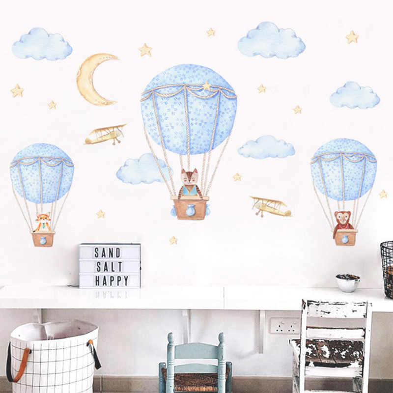 Hot Air Balloon Cute Animals Wall Stickers For Kids Room