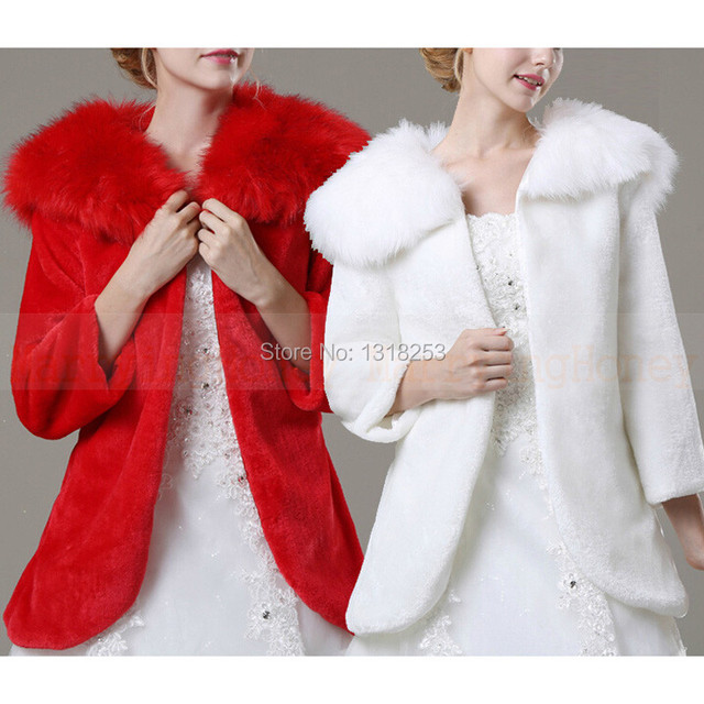 Off-White Red Bolero Women Faux Fur Wedding Jacket 3/4 Long Sleeve Bridal Accessories Formal Shawl Coat for Evening Dresses Cape
