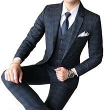 Mens suit 3 piece set (blazer pants vest) British style pattern business banquet boutique high-end custom suits Asian size 5XL