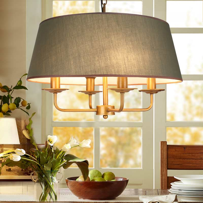American Vintage Lamp E14 Led Bulb Chandelier For Living Room Wedding Decor Home Lighting Copper Iron Green Fabric Lampshade 220 kitchen aisle stair light wall lamp vintage iron fabric lampshade decor sconces indoor home lighting gift e14 3w led bulb 220v