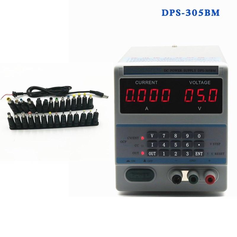 4Ps Display 220V Digital Control 30V 5A DC Voltage Regulated Power Supply DPS-305BM + 28pcs Notebook Adapter Converter Plug rps3020d 2 digital dc power adjustable power 30v 20a power supply linear power notebook maintenance