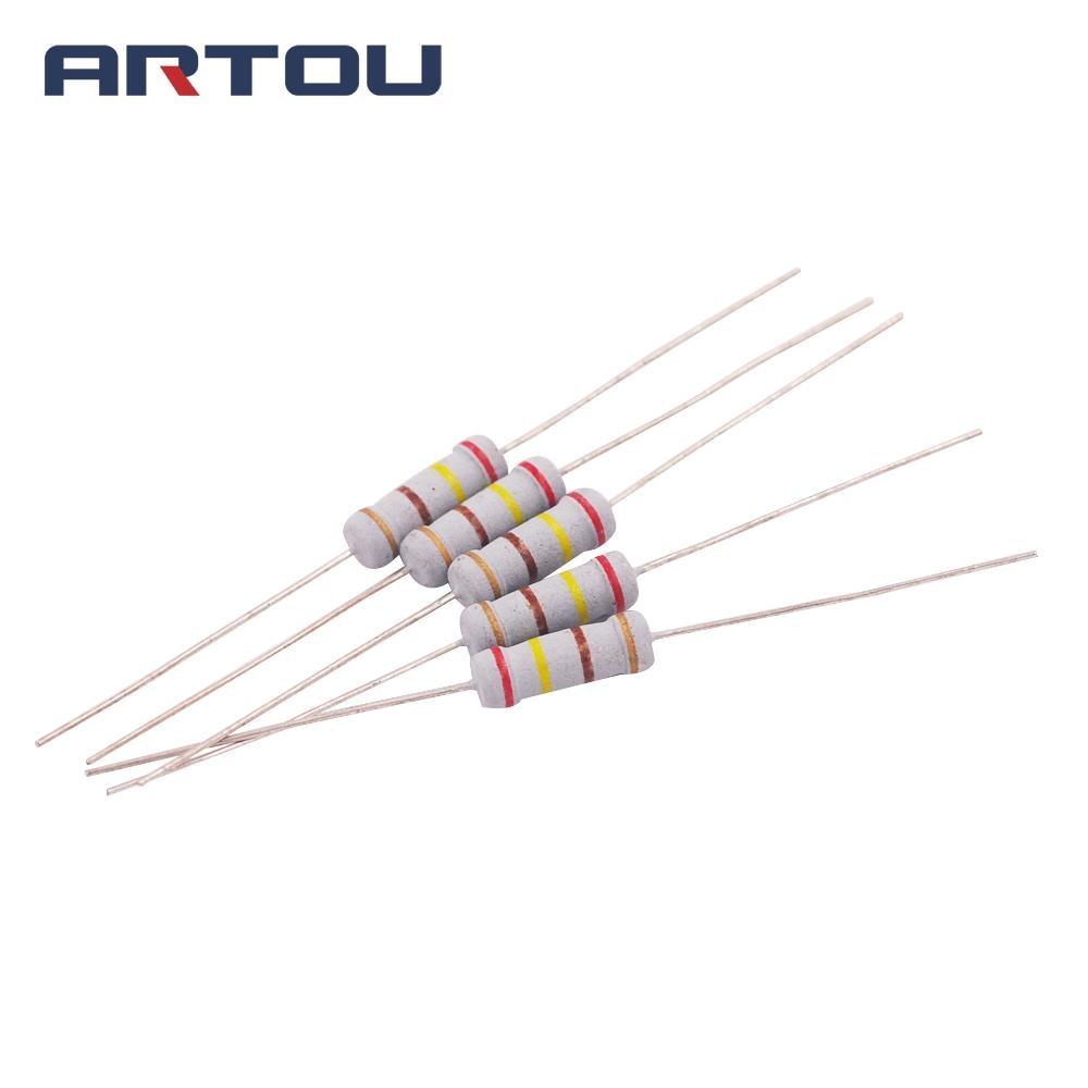 50PCS 1W Carbon Film Resistor 2.2K 10K 22K 47K 68K 100K 220K 22R 47R 100R 220R 680R 1M 5%