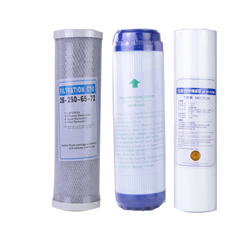 3 Levels PP Cotton Filter+10'' Water Purifier Filter UDF Granular Activated Carbon Filter+CTO Compressed Carbon Reverse Osmosis-in Water Filter Parts from Home Appliances