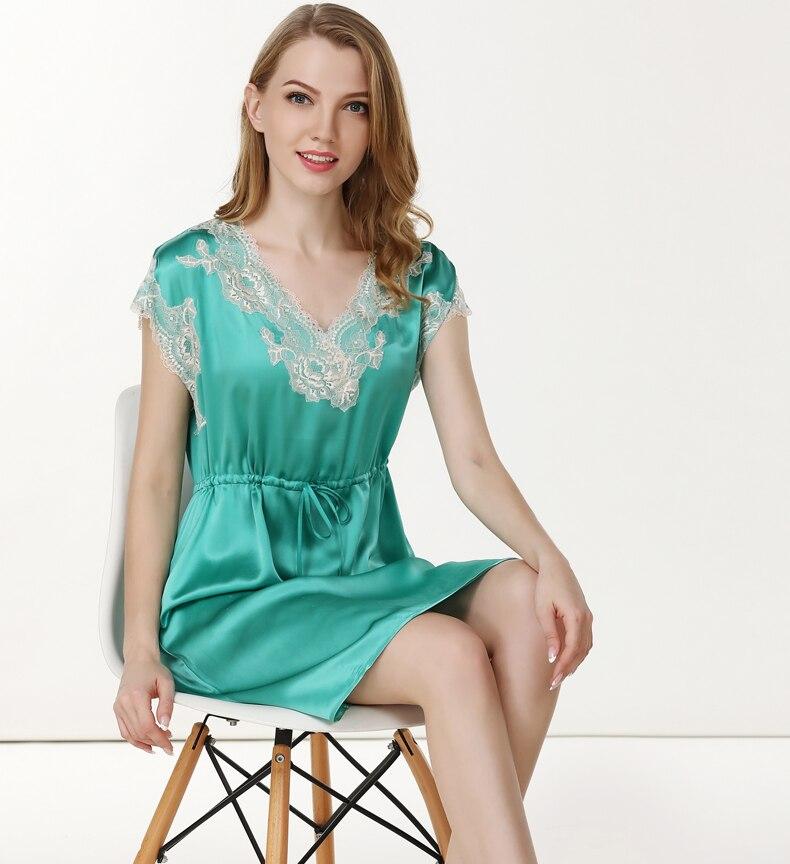 Ladies 100% silk stain Sexy Nightdress 2019 Silk Sleepwear emboridery Red green summer Nightgown Mini  Short sleeve Sleepshirt