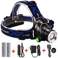 LED Headlamp  with Zoomable 3 Modes CREE XML T6 Rechargeable Headlight Head Lamp Spotlight For Fishing+Charger+2 PCS 18650