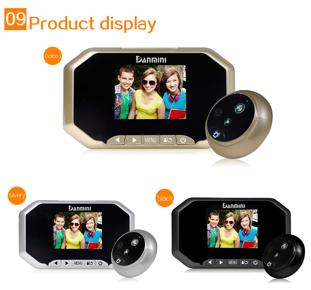 3 LCD Screen PIR Motion Detection Video Doorbell 160 Degree Digital Door Peephole Viewer HD IR Night Vision Door Camera 3.0M original danmini 3 0 tft lcd color screen door peephole viewer ir led night vision light doorbell 145 degrees view angle system