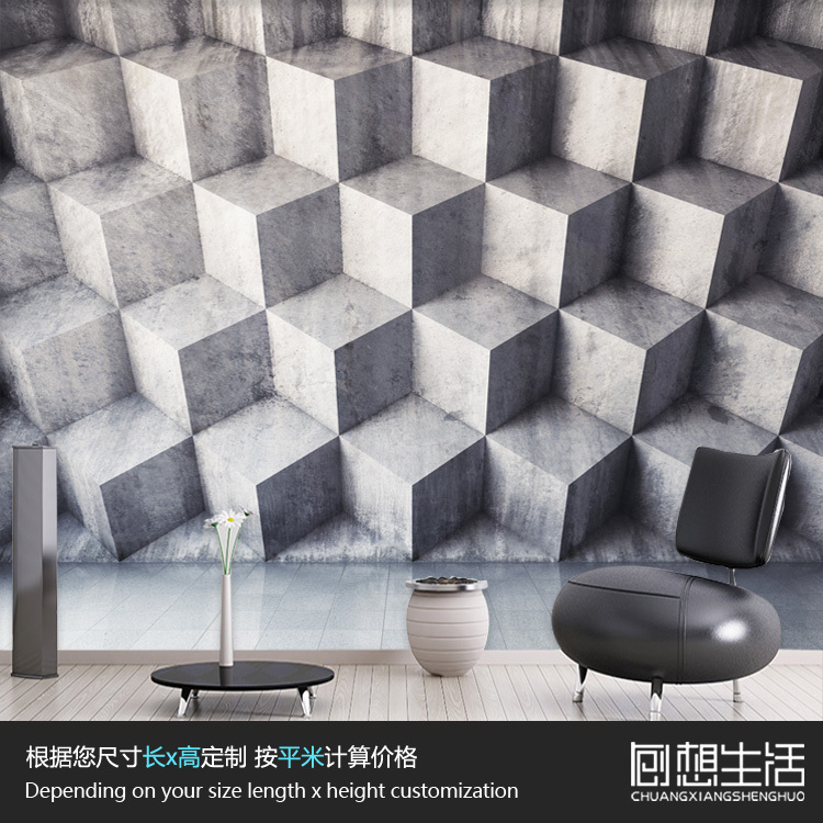 Modern geometric triangle background wallpaper bedroom for Black 3d tiles wallpaper