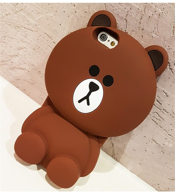 quality design 27f26 e2a4b Line Friends Brown Bear Phone Case For iPhone X 8 7 6 5