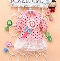 2016 Nueva primavera vestido del bebé bebés polka dulces Lollipops lindos de la manga completa vestido de encaje con arco-nudo bebé vestido de encaje