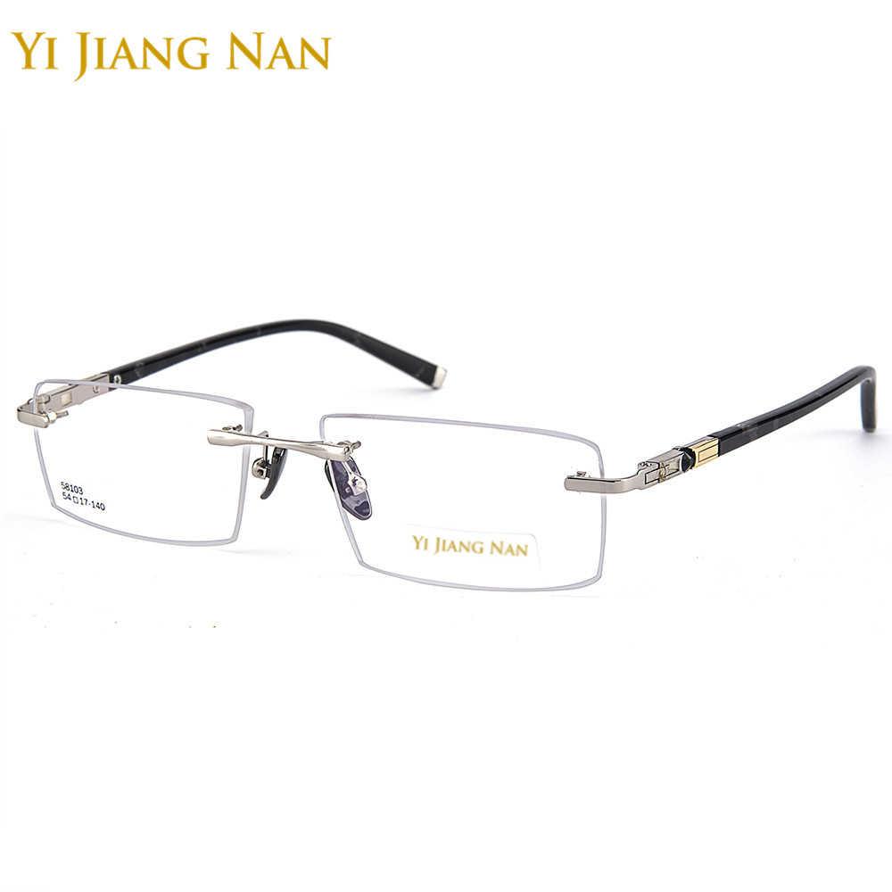 d010c56211 Yi Jiang Nan Brand Men Fashion Quality Alloy Frame Ceramics Nose Pad  Rimless Eyeglasses with Clear