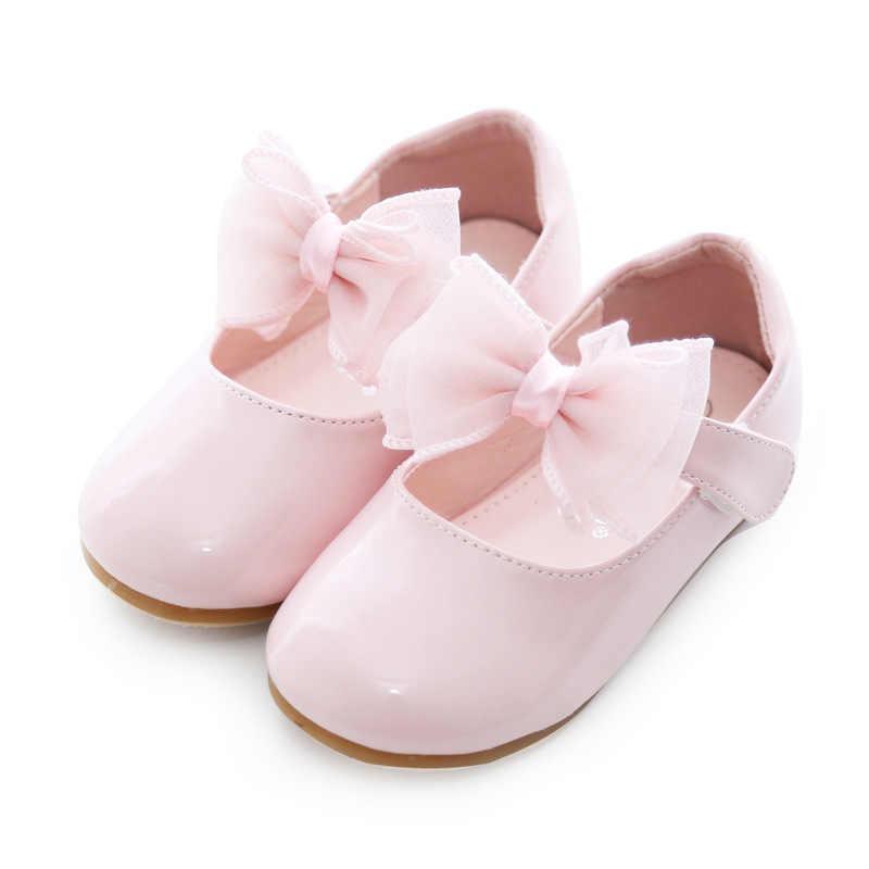 Rosa e Bianco Tutti I Sizes19-27 Scarpe Per Bambini di Cuoio DELL'UNITÀ di elaborazione Dolce Casual Stili di Ragazze Scarpe Morbida E Confortevole Principessa Slip On Per Bambini scarpe
