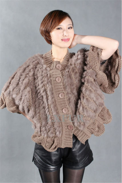 Real Lady Knitted Rabbit Fur Vest Woolen Street Style Gilet Botton Waistcoat Fashion Flounces Trim Outwear LX00250