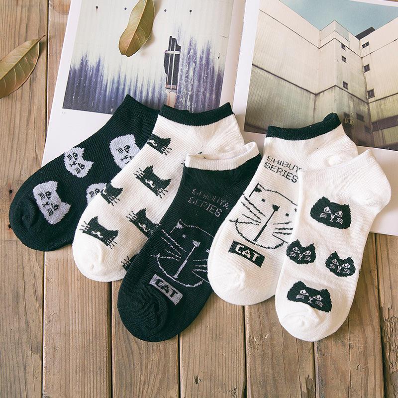 1 Pair Fashion Casual Cotton Short Socks Cute Harajuku Cartoon Animal Cat Pattern Socks Japanese And Korean Style Unisex Socks in Socks from Underwear Sleepwears