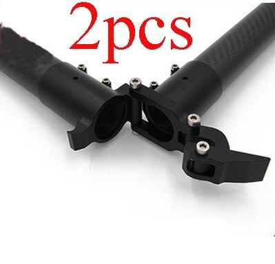 2 pçs liga de alumínio d25 d28 d30 d35 d40mm horizontal braço dobrável tubo carbono assento fixo conector junção para rc planta uav drone