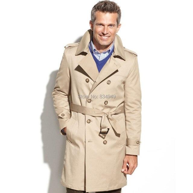 Custom Made Beige Trench Coat Men, Double Breasted Winter Overcoat ...