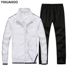 YIHUAHOO Eşofman Erkekler 4XL 5XL 2 Iki Parçalı Giyim Seti Rahat Hoodies Kazak Spor Eşofman Eşofman Erkekler TC001