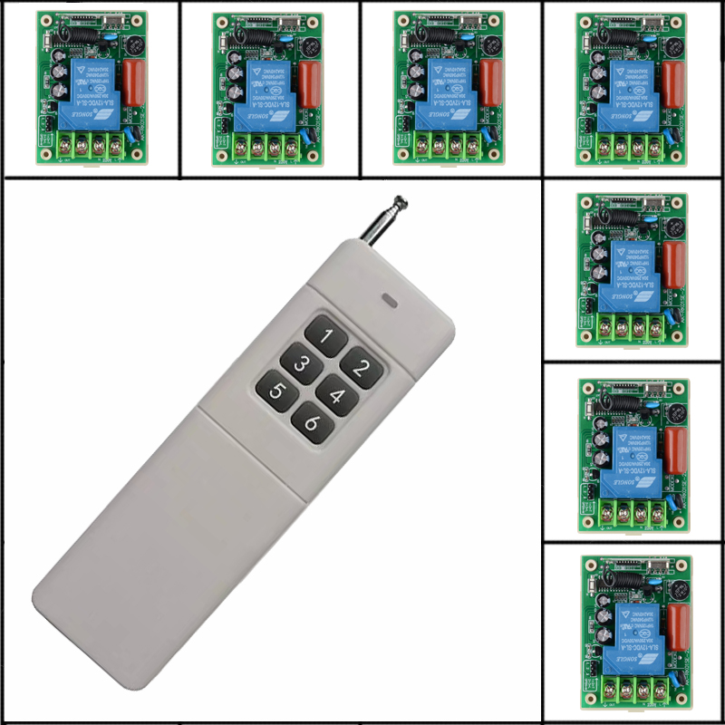 Long Range Far Distance 6CH AC220V 30A High Power Remote Control Switches System Learning Code Receiver