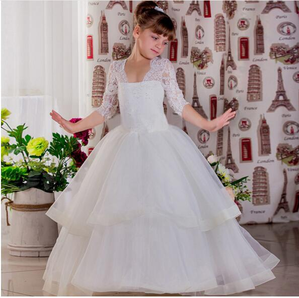 2019 White Ivory Flower Girl Dresses V Neck Long Sleeves Lace Tulle Kids Girls First Communion Dresses Birthday Pageant Gown black wave point lace up v neck long sleeves chiffon blouse