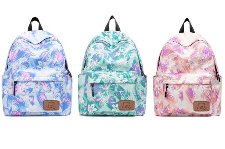 Girls Canvas Floral Printing backpack Women Pink Cute Waterproof Travel Rucksack Big Korean New 16 inch High School Backpack Bag (7)