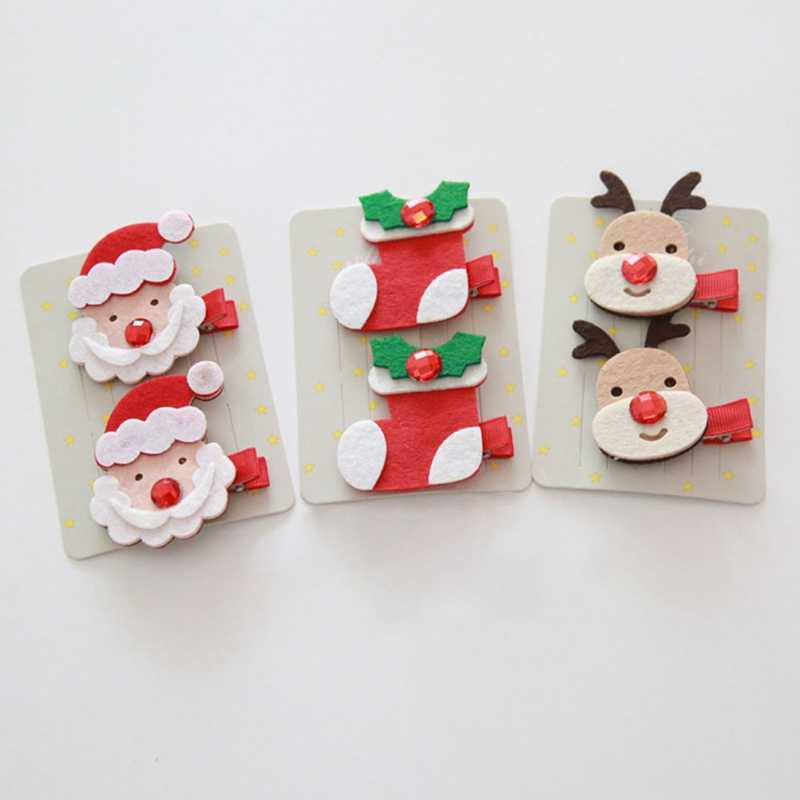 Marry Christmas Gift Baby Cute Hair Clips For Girls Hairpins Santa Claus Christmas Socks Hair Accessories