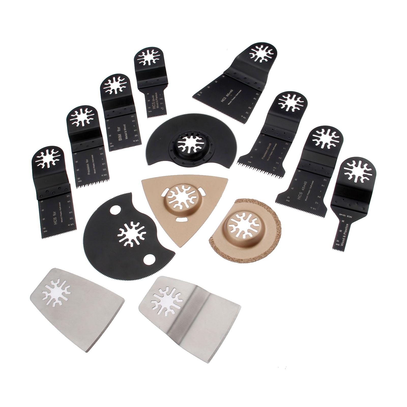 DRELD 14 Pcs Set Oscillating Multi Tool Saw Blades Accessory For Renovator Fein Dremel TCH Multimaster Power Tool Metal Cutting