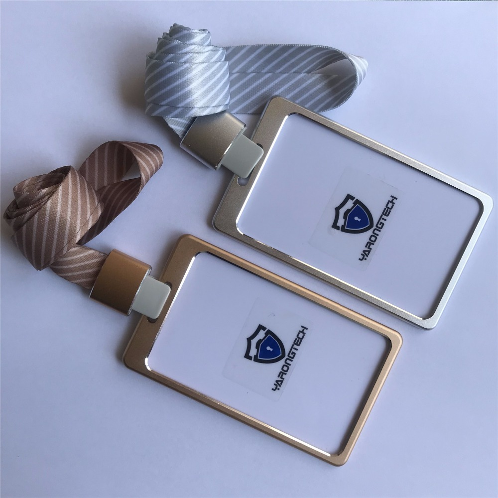 Aluminium Alloy Office Worker ID Badge Holder with Detachable stripe Lanyard/Strap aluminium alloy headset stand holder