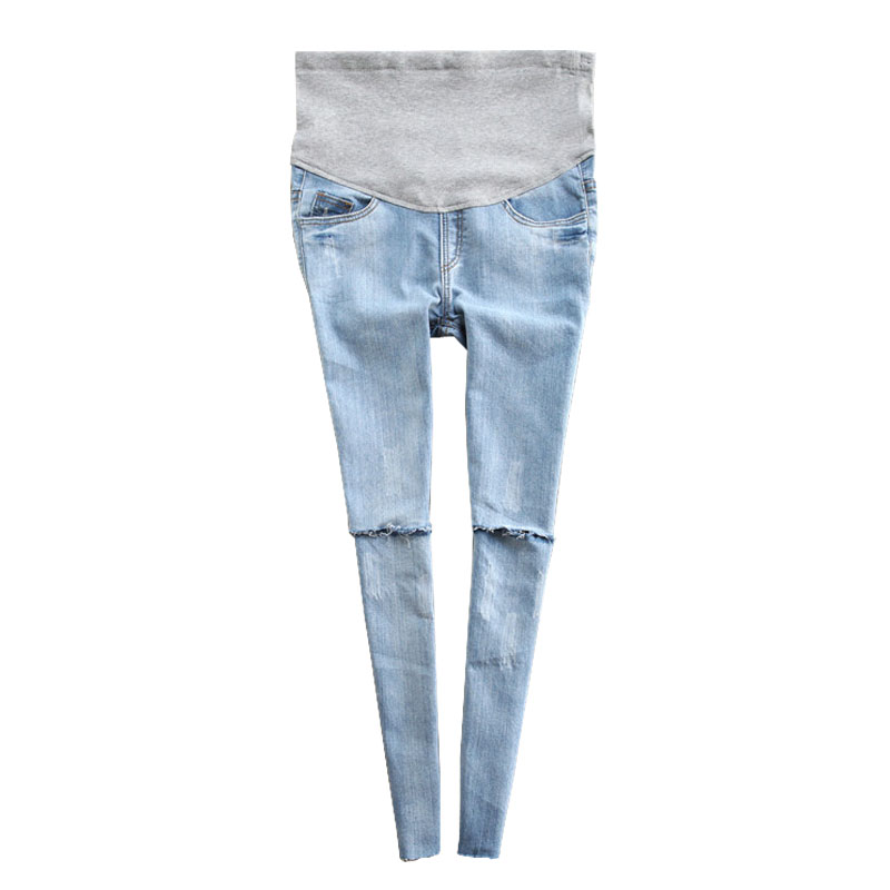 bd410e4b30696 Skinny Jeans Maternity Pants For Pregnant Women Clothes Hole Denim High Waist  Pregnancy Pants Prop Belly