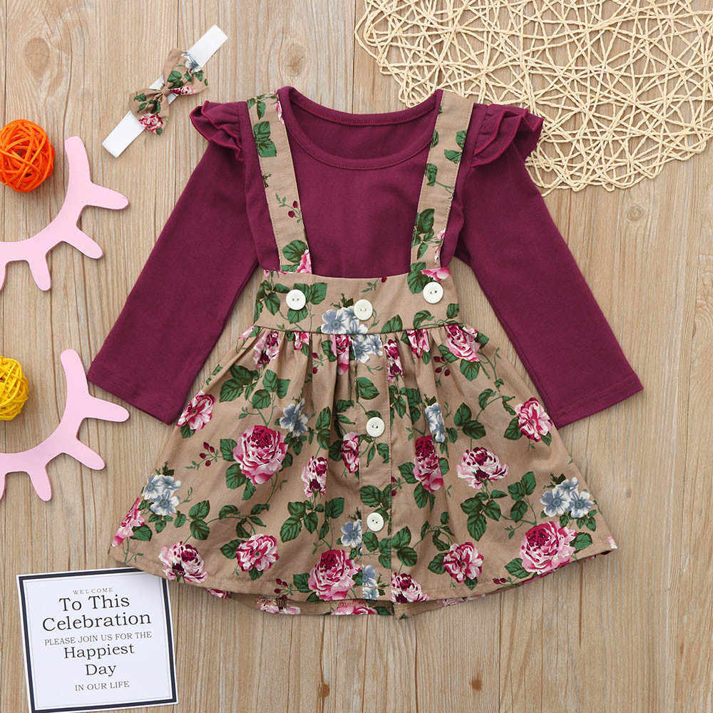 2019 г., комплект из 3 предметов для маленьких девочек, однотонные топы с рюшами и цветочным принтом, юбка на бретелях, комплект одежды, roupas infantis menina