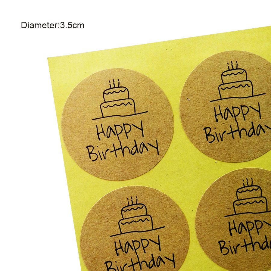100 Pcs/lot Happy Birthday Round Seal Sticker Kraft Paper Adhesive Stickers For Homemade Bakery & Gift Packaging Scrapbooking card kraft postcards handmade 3d pop up musical greeting cards happy birthday paper with envelope gift message card for girl