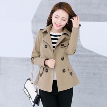 New Womens Trench Coat Autumn Spring 2020 Fashion Casual Slim Cotton Blends Khaki Black Short Tops Outerwear Female