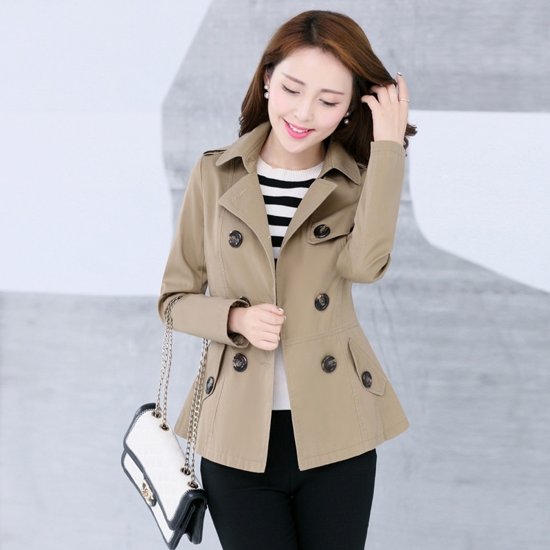 New Women's   Trench   Coat Autumn Spring 2019 Fashion Casual Slim Cotton Blends Coat Khaki Black Short Tops Outerwear Female